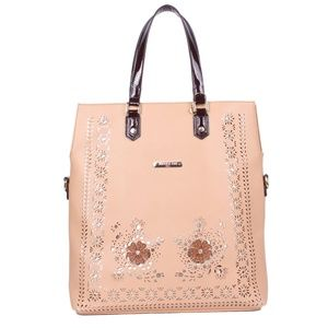 NICOLE LEE LAEL FLORAL LASER CUT TOTE BAG